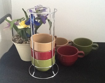 Mult-color Stacking Mugs or Espresso Cups Sets of 6