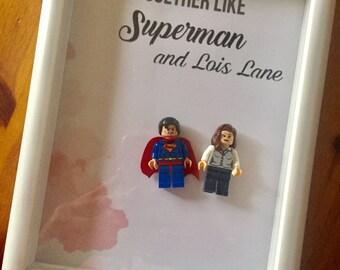 We go together loke superman and lous lane frame love vaentines gift borthday present