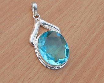 Pear Cut Blue Quartz Pendant, Handmade Artisan Pendant,  Blue Topaz Gemstone 925 Silver Pendant Jewelry