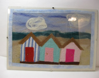 Needle felted beach hut scene in glass frame