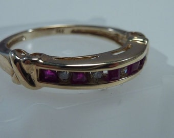 14K Yellow Gold Ruby and Diamond Ring, 2.7 grams, size 7