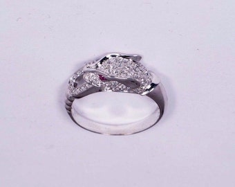 18K White Gold Jaguar Ring with Diamonds and two Rubies Size 6.75