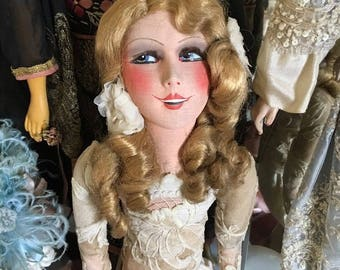 Vintage French Deco 1920's Boudoir Doll  American actress Mary Pickford  Movie star