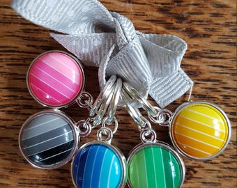 5 large Knitting stitch markers...brights