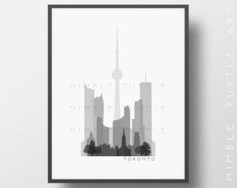Toronto Skyline Printable Download  -  Black and White  -  Grayscale - Toronto Canada Gallery Wall Art