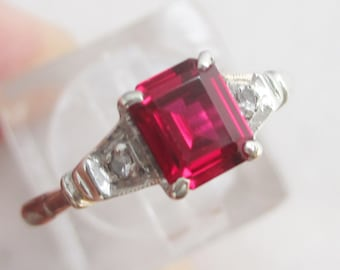 Vibrant ruby promise or engagement ring, Vintage red ruby in a pretty white & yellow gold setting