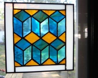 Tumbling blocks quilt pattern