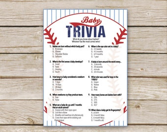 baseball baby shower trivia game printable download baseball shower game baby trivia game