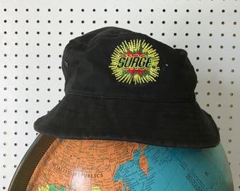 Vintage 90's Black Surge Bucket Hat - Embroidered Surge Soda Accessory