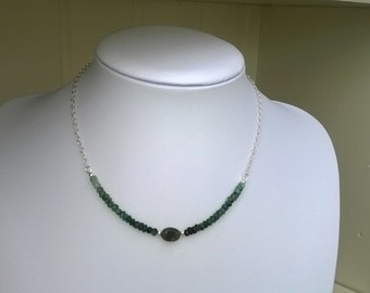 New - Emerald and sterling silver necklace