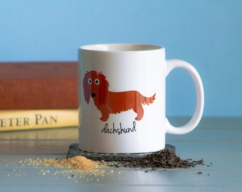 Dachshund Mug (longhaired - red - girl)