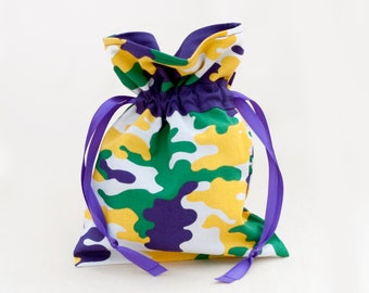 Camouflage Mardi Gras Favor Pouch, Small Drawstring Bag, Fat Tuesday, New Orleans Party Gift Pouch