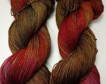 Miss Mary, Hand dyed yarn, sock weight, Superwash Merino, 463 yards