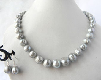 pearl necklace earrings set - genuine cultued 10-11mm, 11-12 gray pearl necklace 18 inch & dangle earrings set