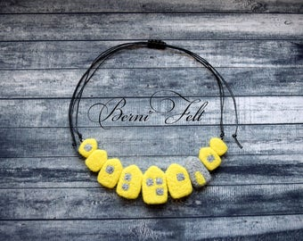 Design Necklace, Felt Necklace,  Houses Necklace, Wool Jewelry, Yellow Necklace