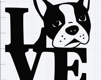 Boston Terrier Love  SVG EPS DXF Studio 3 Cut Files