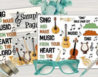 """Printable Bible Journaling Page Kit - """"Sing"""" - Complete kit for Bible Pages or Journals. Fits all Journaling Bibles."""