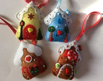 Christmas tree ornament handmade felt gingerbread house in various colours