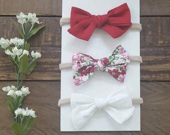 Knotted bow, school girl bows, knotted bow headband, red bow, flower bow, white bow