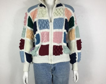 Vtg 70s 80s patchwork colorblock woven knit sweater jacket avant garde small