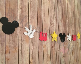 Mickey Mouse Garland, Mickey Mouse Banner, Mickey Garland, Mickey Banner, Mickey Mouse Clubhouse, Red, Yellow, White, Black, Classic Mickey