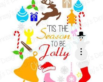 Christmas file svg / holiday svg / christmas cut file / holiday print and cut / christmas elements svg / Tis the season svg / vinyl crafts