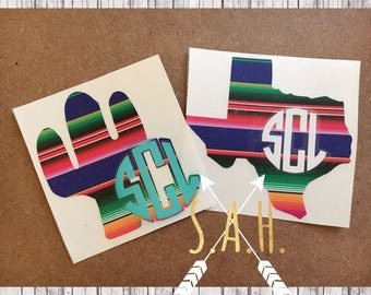 Serape monogram vinyl decal