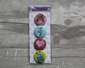 together 4 magnets macaroon knitting / knitter 1.25 inch