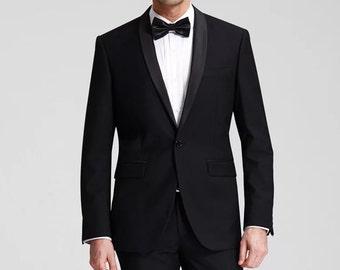 Tuxedo in Black Wool/ Men's Evening Attire/ Men's Wedding Attire/ Formal Suit