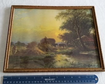 antique framed litho print w/ glass - harvesting hay straw field - vintage bales horses farm art ornate picture photo wall hanging haymaking
