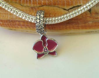 Red Enameled Orchid with Red/Clear Rhinestone Accents S925 Silver Pandora Style Charm