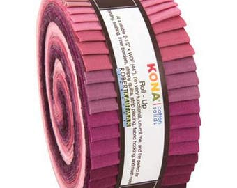 Kona Cotton Solids Roll-Up. Powder Room Palette. 40 2 1/2 x width of fabric strips. Purple Pastel Violet pink Kona Rollup RU-435-40