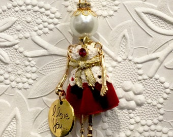 French doll pendant, doll necklace, Valentine's Day pendant, red velvet and lace, Ellie's Belle: Valerie