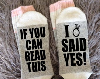 Bridal Socks - Bride Apparel - I said Yes - I'm Getting Married - He Put a Ring On It - Wedding Gifts -Engagement Announcement-Novelty Socks