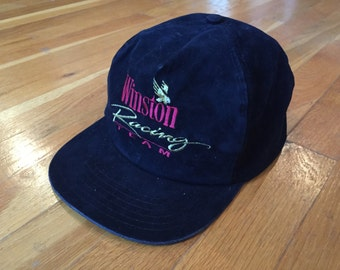 Vintage Winston Racing Team black suede hat nascar racing rope cap snapback