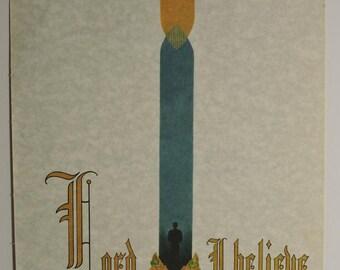 Print Scripture Bible John 9:38 Lord, I Believe Calligraphy Gothic Wall Art 8 X 10