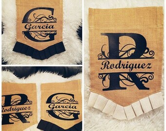 Personalized Burlap Garden Flag 12x18