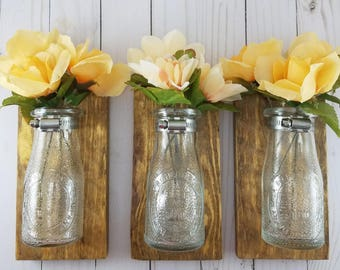Bathroom Wall Decor - Reclaimed Wood Wall Decor - Wall Flower Vase - Milk Bottle Vase Wall Sconce - Bud Vase Wall Sconce - Wall Hangings -