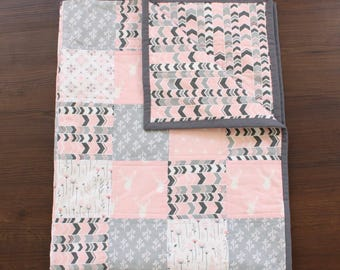 The Thicket Quilt, woodland quilt, baby girl quilt, stag quilt, woodland nursery, woodland baby, wildflower nursery, baby gift, baby girl