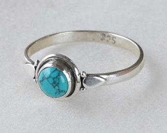 Turquoise Ring,  Turquoise Stone Ring, Turquoise Silver Ring, Stacking Rings, Bohemian Ring, Size 2,3,4,5,6,7,8,9,10,11,12