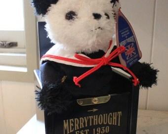 Rare Navy Blue Merrythought Jack In The Box Panda Bear