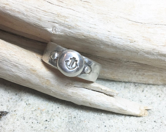 Sterling Silver Antiqued Anchor Ring Size 10.5
