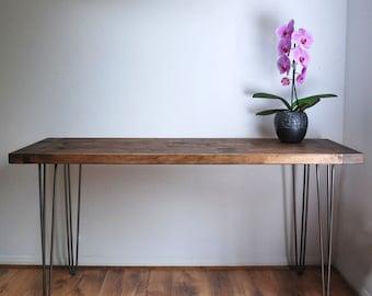 Solid Wood Rustic Desk with Vintage Mid-Century Metal Hairpin Legs, Walnut Detail, Dark Wood