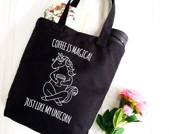 Unicorn, Tote, Unicorn Bag, Canvas Tote, black tote, funny tote, shopping bag, market tote bag, tote bag, for her, gift, bag