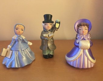 Holland Mold Hand-Painted Ceramic Christmas Carolers - Set of 3