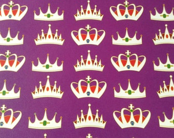 Queen wrapping paper sheets, crown, royal purple, queen for a day, La Corona de la Reina, gift wrap, 29x20 inches, shipped rolled in tube