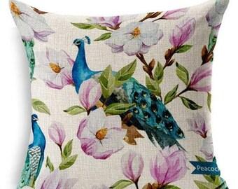 Housse de coussin Paon  Fleur rose   Coton et lin beige   Décoration d'intérieur   Salon & Chambre  Design Scandinave   Décoration intérieur