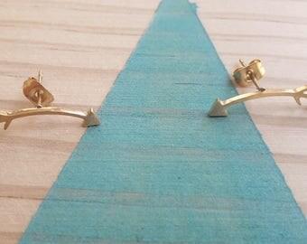 Boucles d'oreilles Fleches  dorés  2 x 0,4 cm | Joli bijou minimaliste rock  | 2017 | Cadeau mignon pour elle | Pour tous les jours à offrir