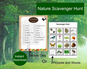 Scavenger Hunt - Game - Camping - Nature Scavenger Hunt - Outdoor Game - Woodland Theme - Treasure Hunt - Digital Download Game