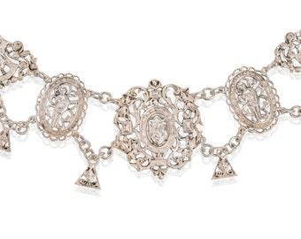 Renaissance Revival Vintage Silver Necklace | Festoon Estate Silver Large Necklace | Faces Cherub Silver Impressive Necklace || 17701